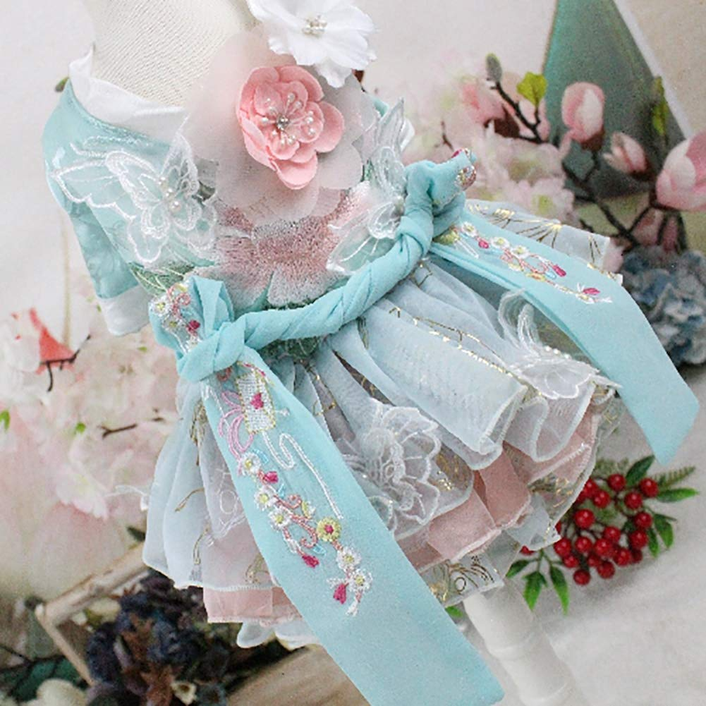 WHZWH Puppy Dog Princess Dresses,Pet Wedding Dress Retro Style Design with Hair Band Suitable for Home, Party, Photography,XS