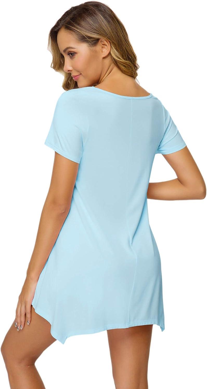 WiWi Womens Nightgown Bamboo Sleep Shirt Short Sleeve Loose Comfy Pajama S-4X