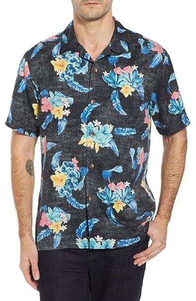 cc745cb3 Tommy Bahama Salt Water Blooms Silk Camp Shirt (Color Black, Size L)