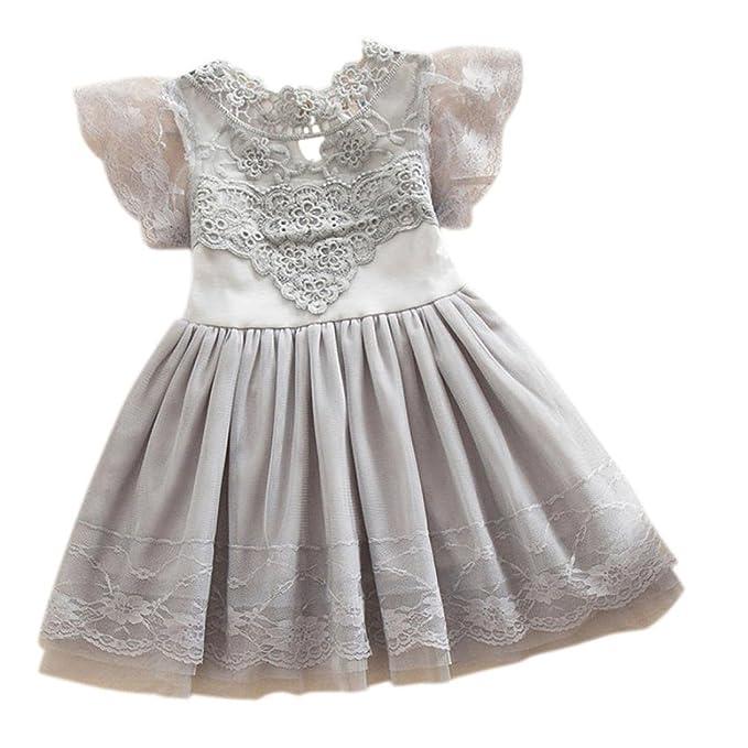 da9e4a64a319 Bekleidung Longra Kind Baby Blume Mädchen Prinzessin Kleid Party Tüll  Spitze Tutu Slip Spitzenkleid Kinder Mädchen