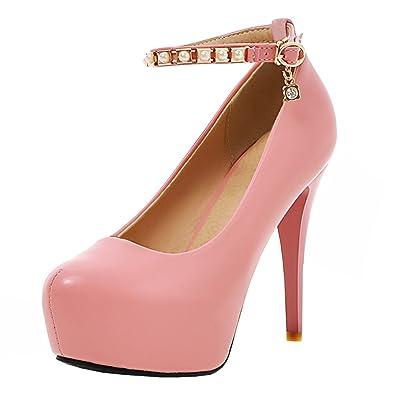 Agodor Damen High Heels Plateau Pumps mit Stiletto 12cm Absatz Lack Moderne Schuhe