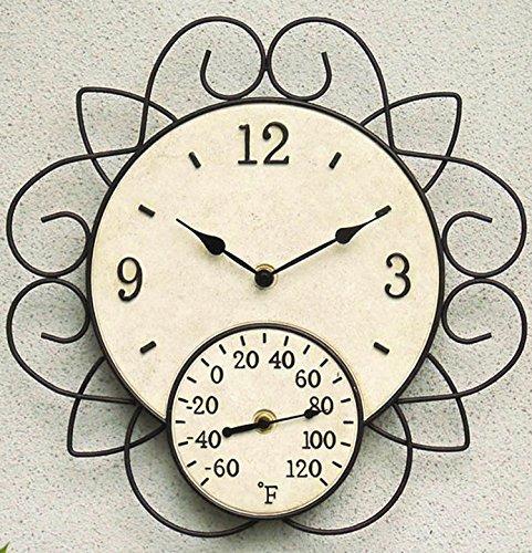 Garden Treasures Indoor/Outdoor Ivory and Rusty Steel Modern Thermometer with Clock by Garden Treasures