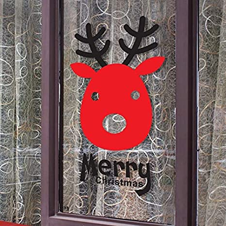 Christmas Elks?Glass Window Sticker Door Sticker Adornment Sticker White and Black Background PVC Decorations