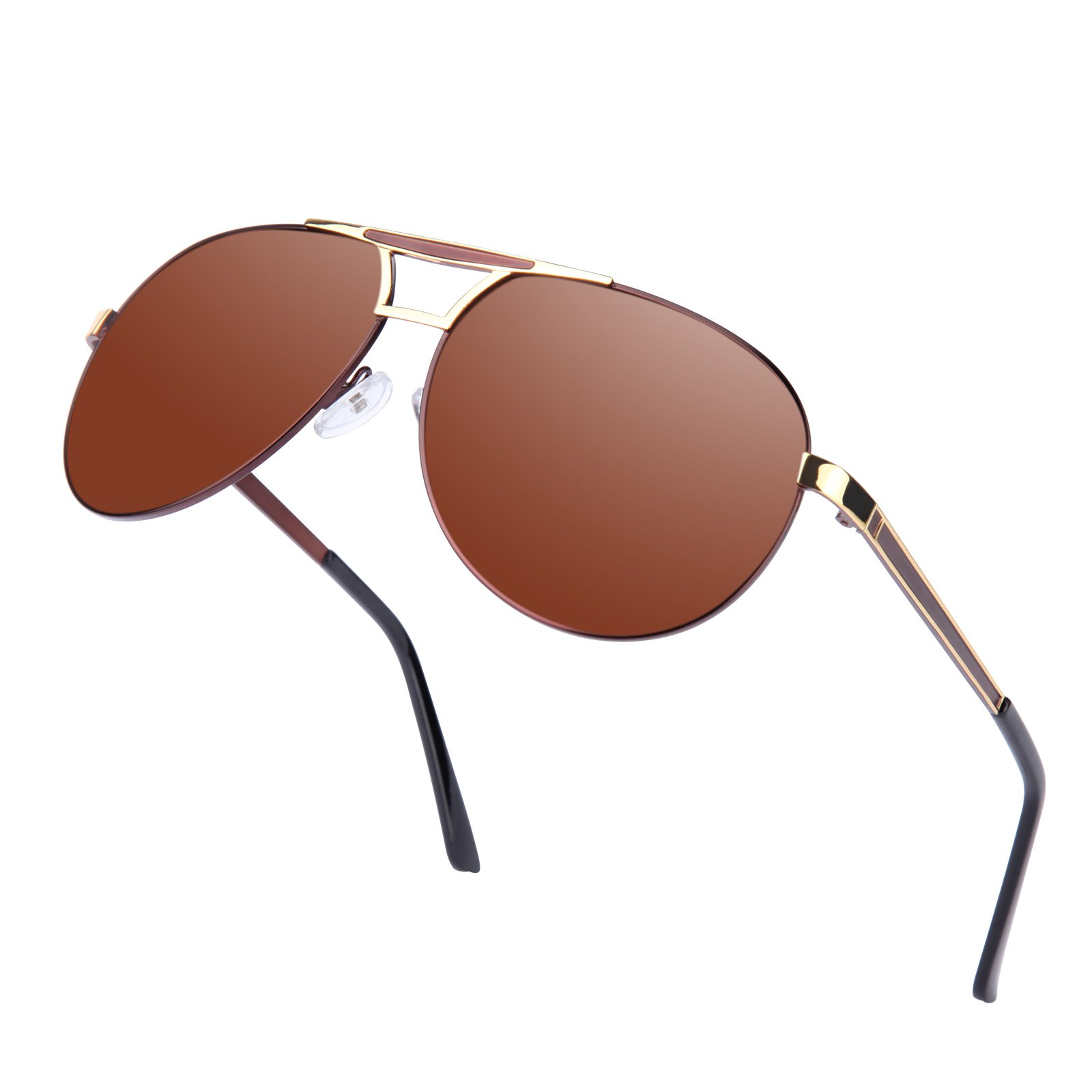 Men Aviator Sunglasses Women Vintage Polarized Pilot Sun Glasses UV 400 Protection by Kennifer (Brown)
