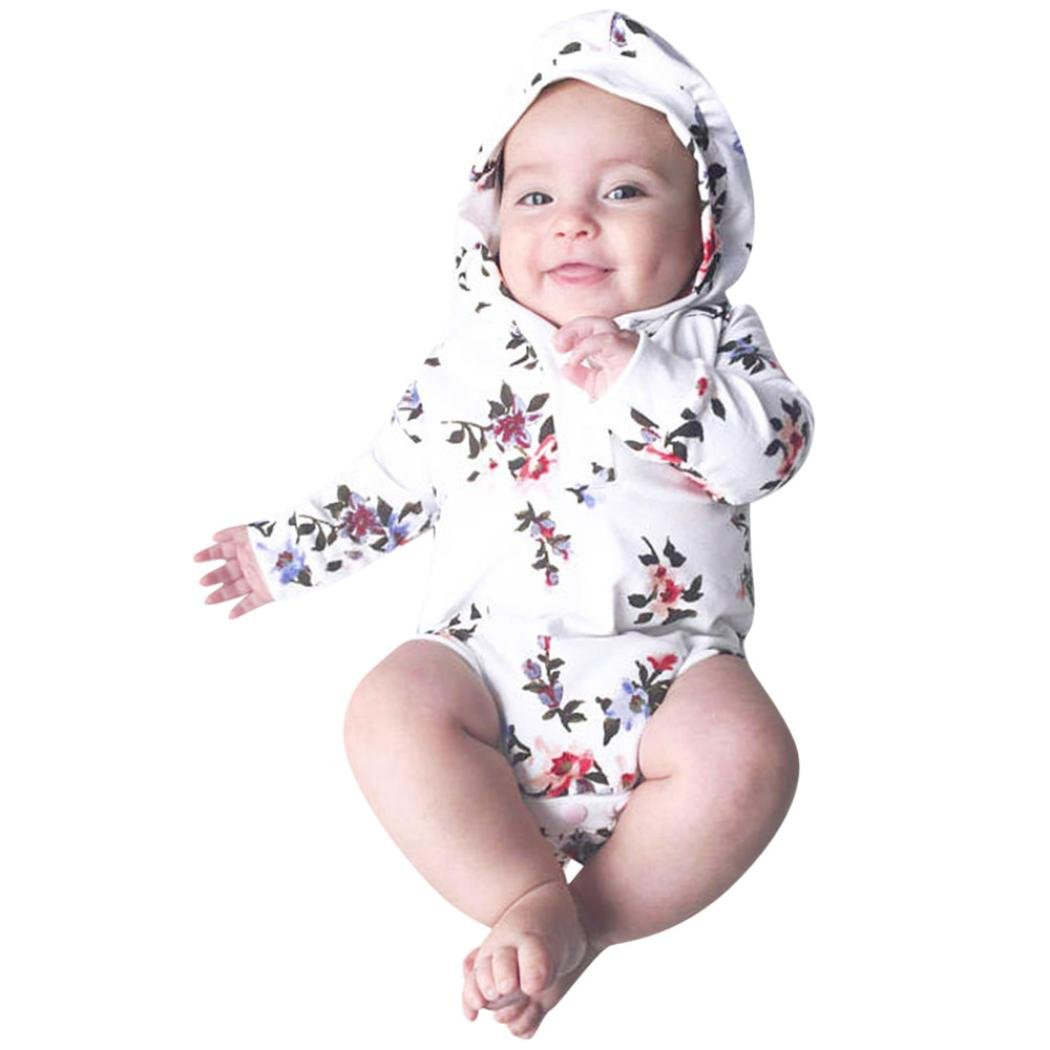 kaiCran Baby Romper,Cute Newborn Baby Boys Girls Long Sleeve Floral Print Hooded Romper Jumpsuit Clothes Outfits