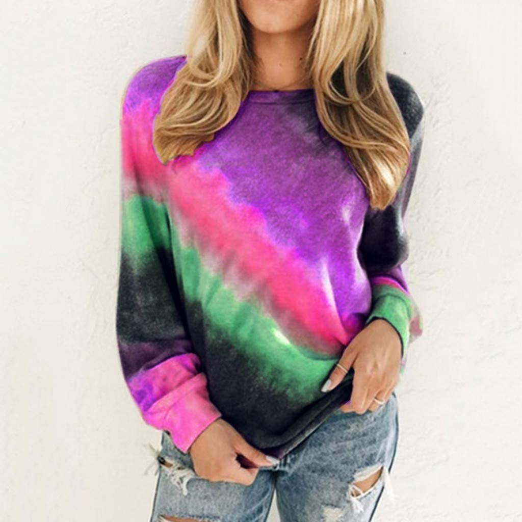 Round Neck Long-Sleeve Gradient Tie Dye Sweatshirt Tops Loose Casual Shirt Outwear Lazapa Pullover Blouse for Women
