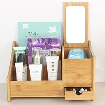 Zzaini Bambus Kosmetik Organiser Mit Schubladen Multifunktionale