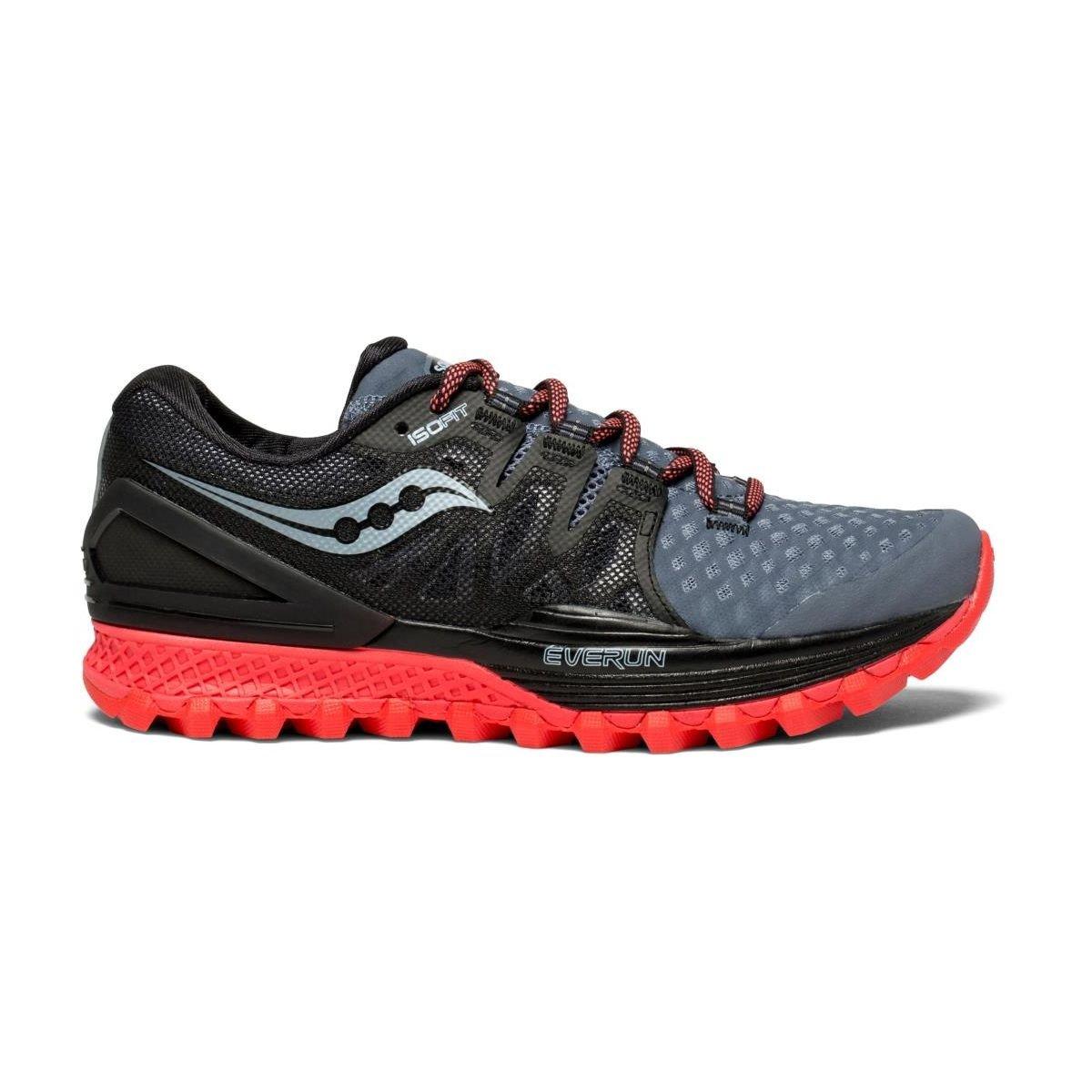 Saucony Xodus ISO 2, Zapatillas de Deporte para Mujer 41 EU Gris (Gry / Blk / Vizi Red 5)