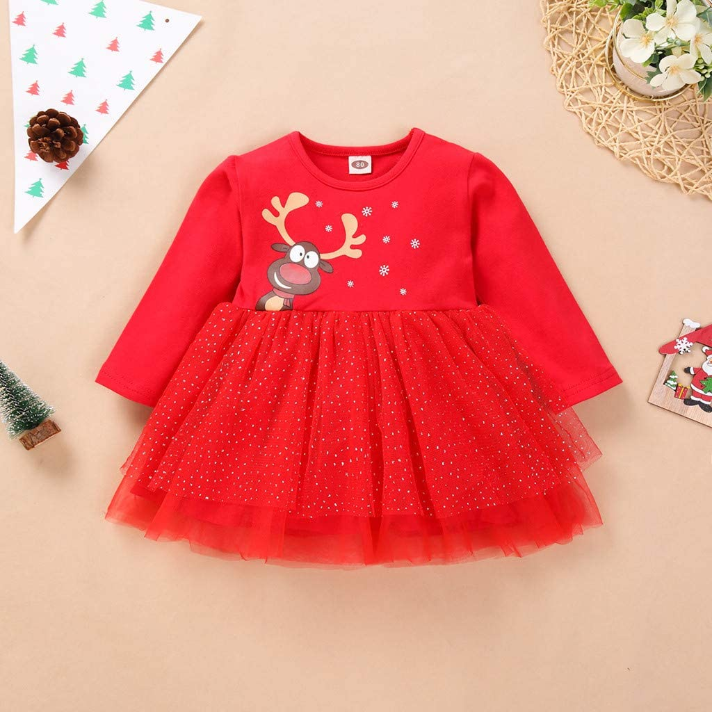 Zimuuy Infant Dress Baby Girl Long Sleeve Outfits Cartoon Deer Tulle Christmas Dress for Baby Girl Christmas Costume Kids Bubble Skirt Red