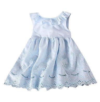 2a1c407981f26 Robe De Fille ADESHOP Mode Enfants BéBé Fille Couleur Unie Volants Dentelle  Broderie Grand Arc Robes ...