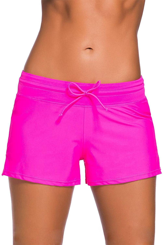 3XL Kfnire Costume a Pantaloncino Nuoto Donna Coulisse Regolabile Pantaloncini da Bagno con Panty Liner Plus Size S