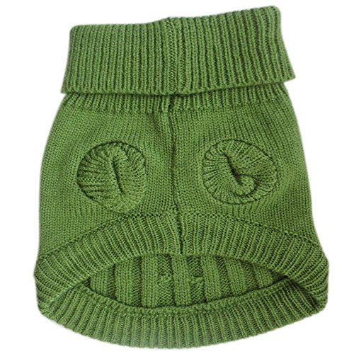 Picture of Tangpan Turtleneck Classic Straw-rope Pet Dog Sweater Apparel (Green, L)