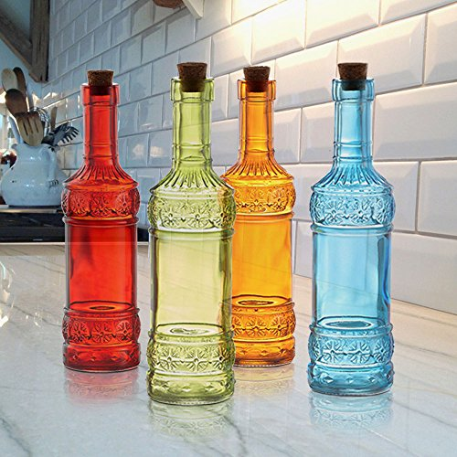 Colored glass bottles set of 4 old fashioned vintage for Colored glass bottles with corks