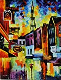 BELGUIM BRUSSELS is the ONE-OF-A-KIND, ORIGINAL hand painted oil painting on Canvas by Leonid AFREMOV Picture