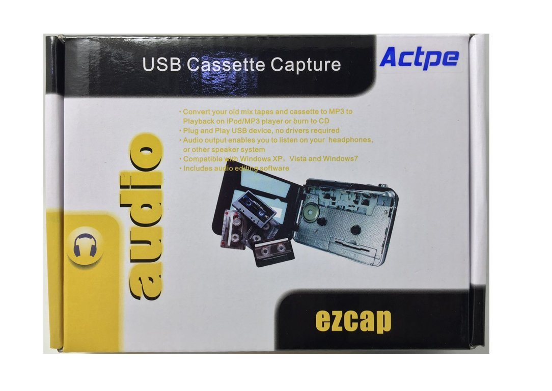 USB Cassette-to-MP3 Converter Capture, Actpe Audio Super USB Portable Cassette/ Tape to PC MP3 Switcher Converter with Headphone