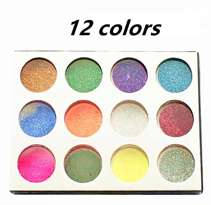 Zorvo 12 Mix Color Random Nail Art Acrylic Glitter Dust Powder For