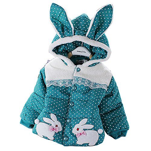 Little Girls Polka Dotted Easter Bunny Puffer Jacket - Green or Pink