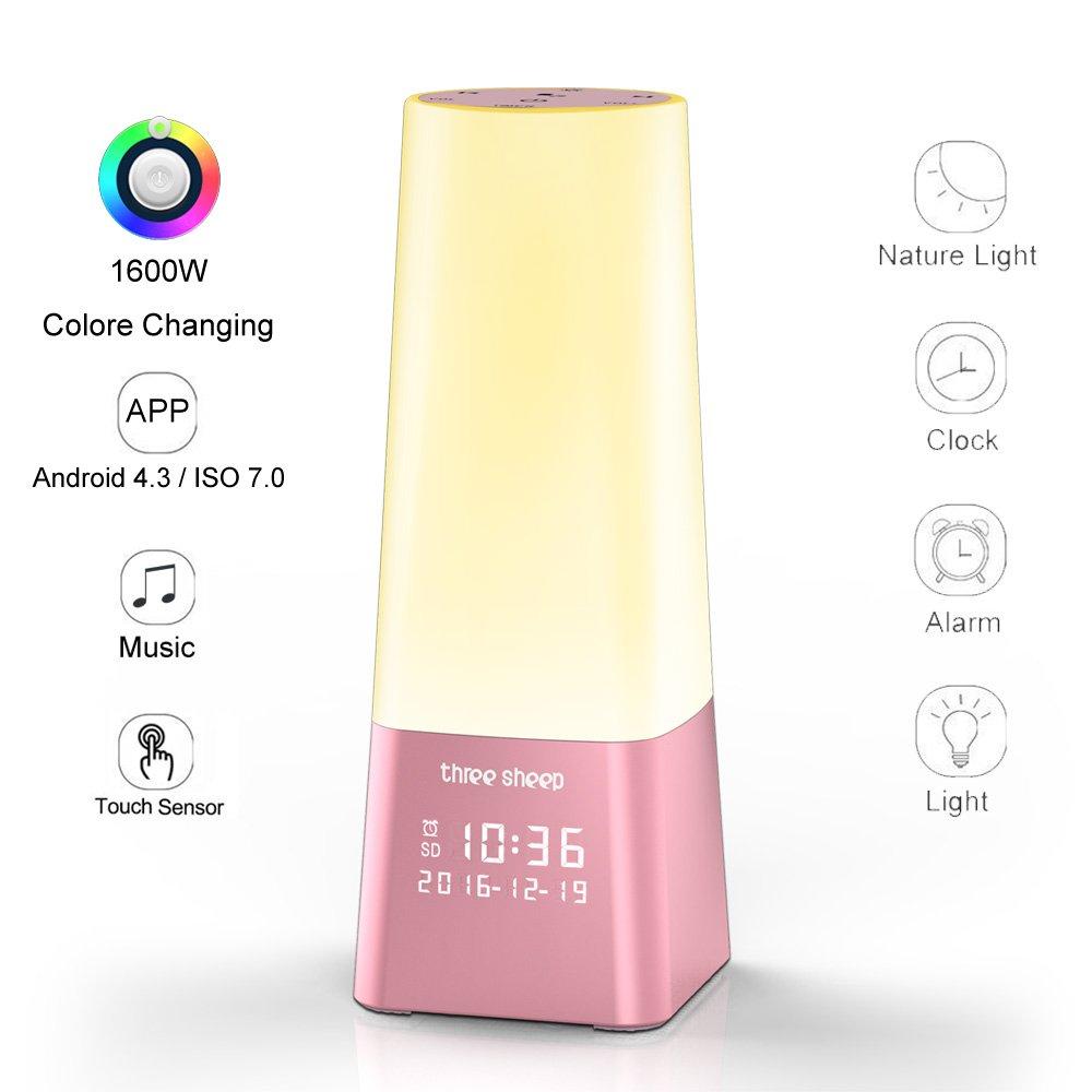 3つSheep Wake Upライト色変更ナイトライト、テーブルライト1600 M Changing Living Colorsベッドサイドランプ、内蔵5特許Soothingサウンド、メモリプレーヤー、アラーム時計、オプションタイマーsp901 SP901A B01N3CXOIS ピンク ピンク