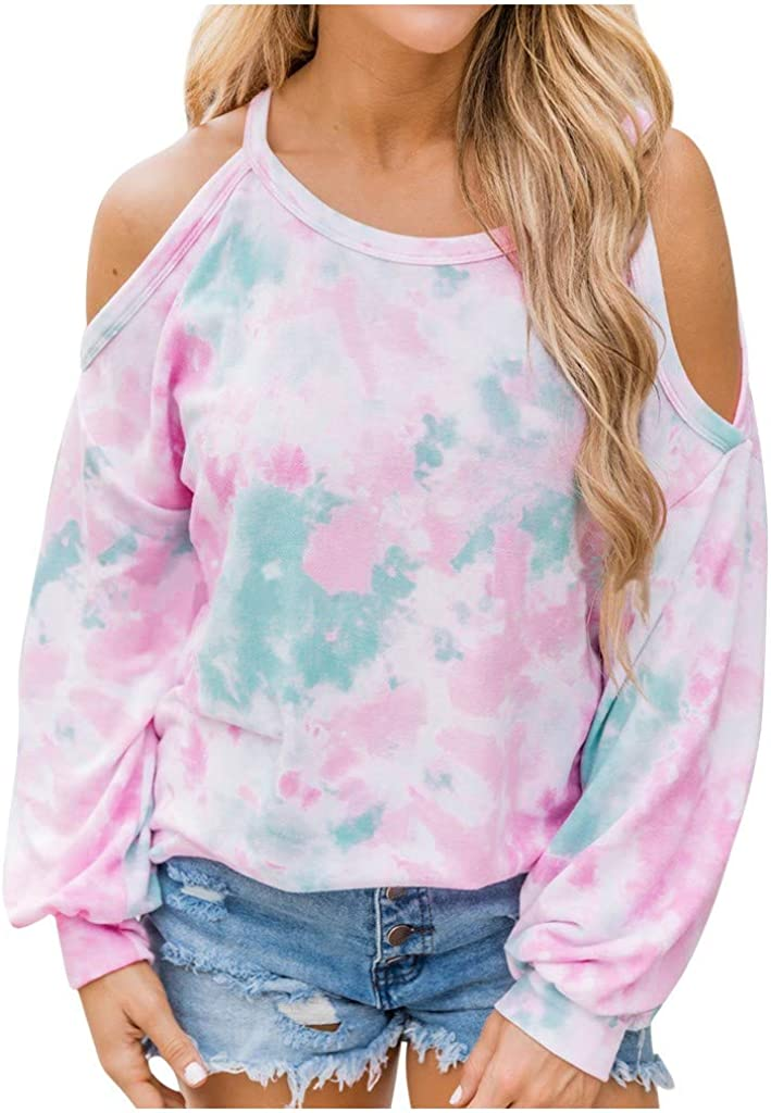 Meikosks Womens Tie-Dye Printed T-Shirt Long Sleeve Off Shoulder Tops Plus Size Loose Tunic