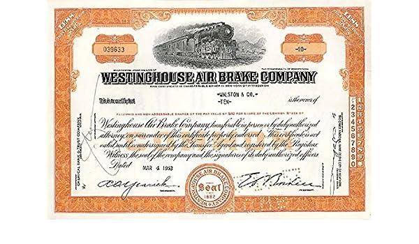 Westinghouse Air Brake Company Stock Certificate