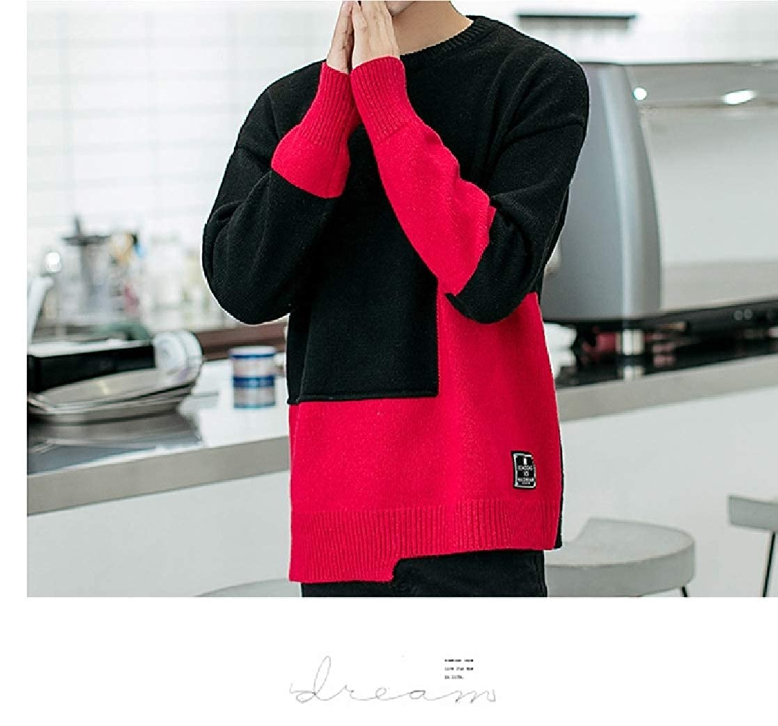 YUNY Mens Splice Knitted Contrast Color Plus Size Tshirt Sweater Black M