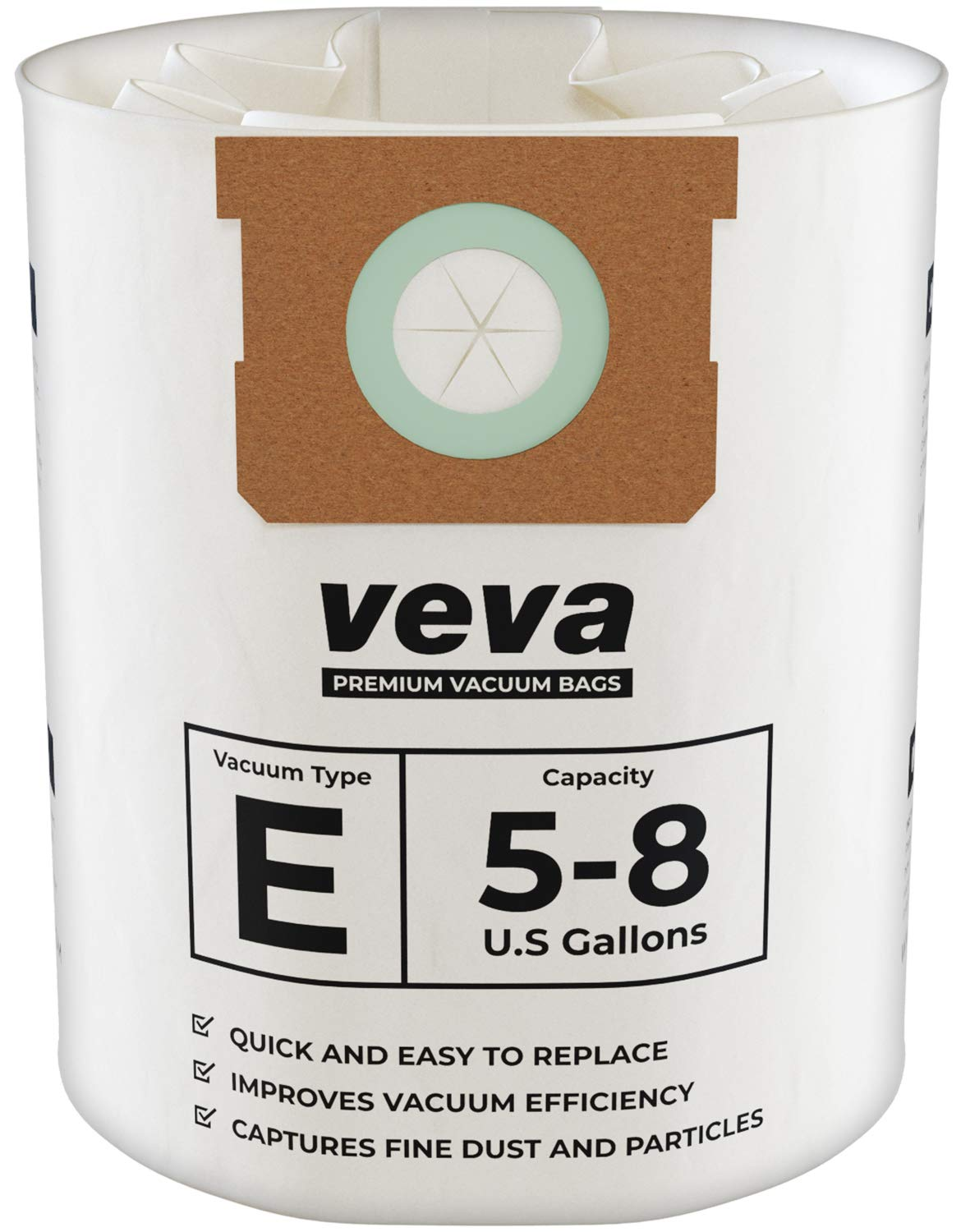 VEVA 15 Pack Premium Vacuum Filter Bags Type E 9066100 Work with Shop Vac 5-8 Gallon Vacuum, Part # SV 90661 by VEVA