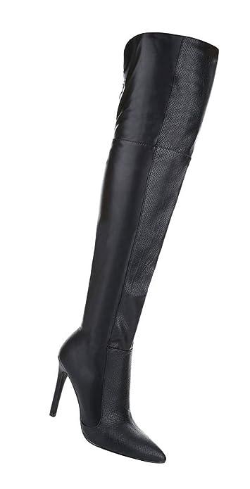 eb012e653a1585 Schuhcity24 Damen Schuhe 14240 Overknee Stiefel Schwarz 35