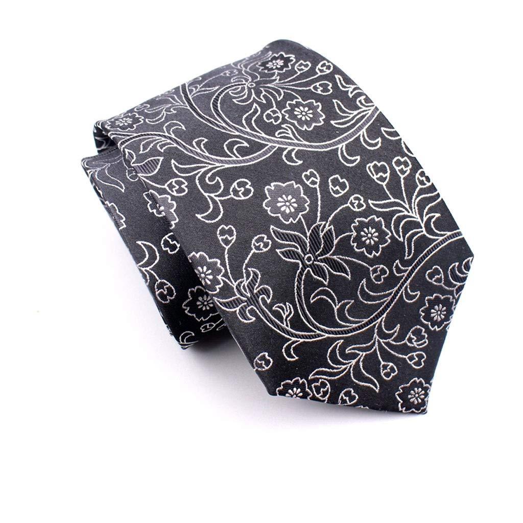 Silk Black Business Formal Mens Necktie Gift Box LDG Floral Paisley Tie