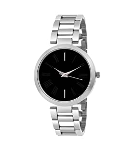 MAP Shopify Round Analogue Black Dial Silver Stainless Steel Strap Fashion Wrist Watch for Girls & Women - (FX-L-443_120)