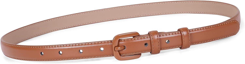 Women Skinny Leather Belt Thin Waist Jeans Belt for Pants in Pin Buckle Belt by JASGOOD