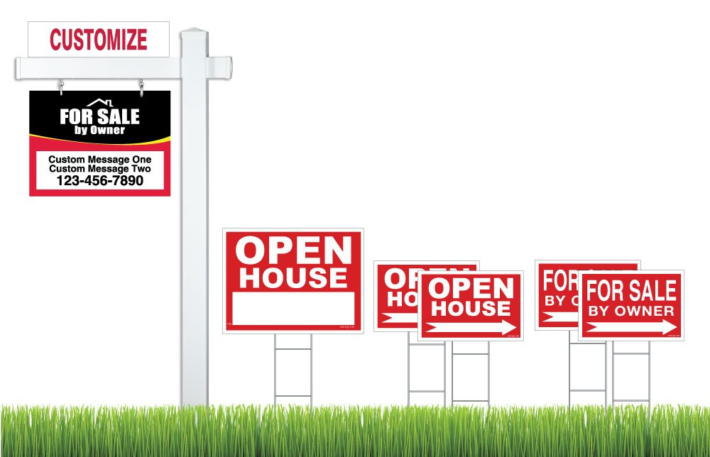 Deluxe Real Estate For Sale By Owner (FSBO) Sign Kit (Red/Black), (1) Real Estate Post with Sign, (1) FSBO Hanging Sign (1) Open House Sign (4) Directional Signs, (1) Rider