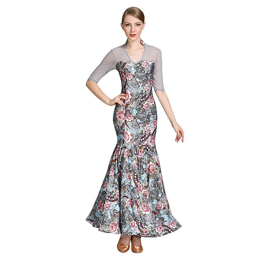 【予約販売品】 女性のためのミッドスリーブスタンドカラーモダンダンスドレスファッションプリント国家標準ダンス衣装ワルツパフォーマンススカート B07QB7L192 B07QB7L192 XL|グレー グレー XL, インポートブランド ロータス:52e99267 --- a0267596.xsph.ru