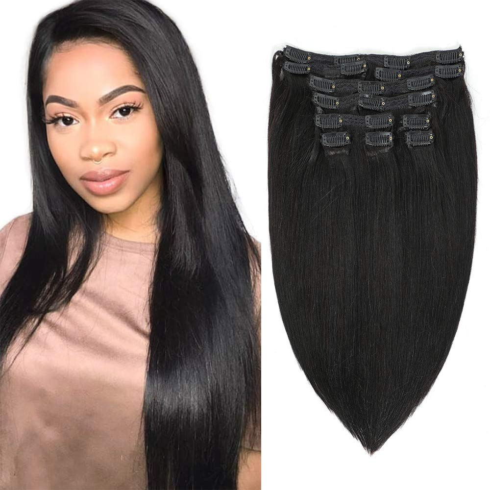 Apeasex 10pcs 100% RemyHumanHairExtensionsClipins 1B Nature Black Straight16inch Grade 8A Quality Full Head Thick Soft for Women 120g/4.23oz