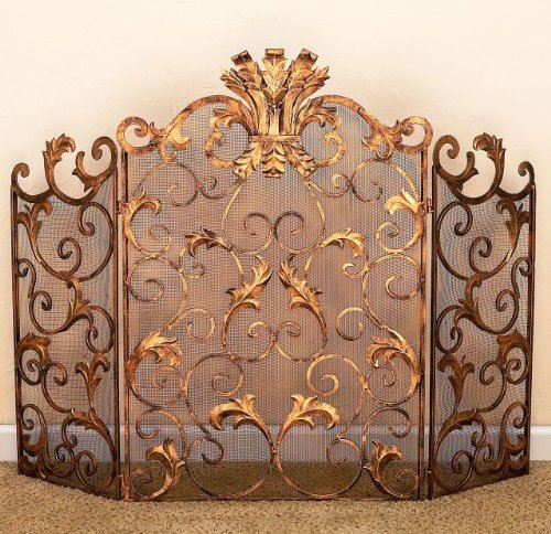 Antique Gold Scroll Leaf Firescreen with Mesh ()