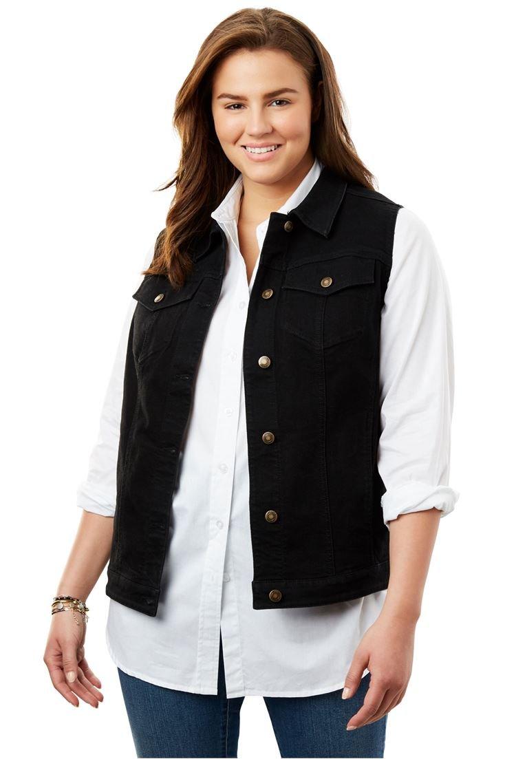 Women's Plus Size Stretch Jean Vest Black,28 W