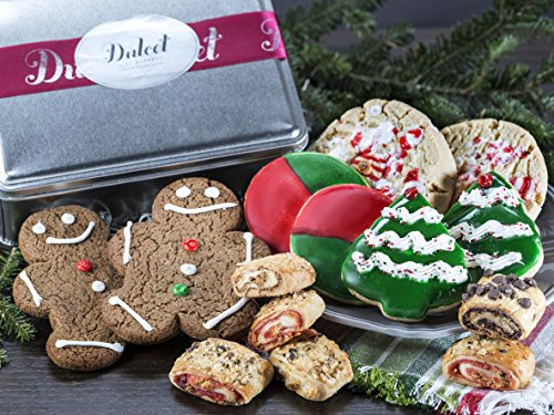 Christmas Tree Cookie Gourmet Holiday Festive Tin- With Fresh Fruit Filled Rugelah- Gingerbread, Peppermint, Red and Green Holiday, Christmas Tree Cookies, By Dulcet Gift Baskets ()