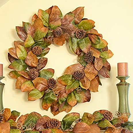 southern charm autumn wreath fall magnolia wreath with pine cones