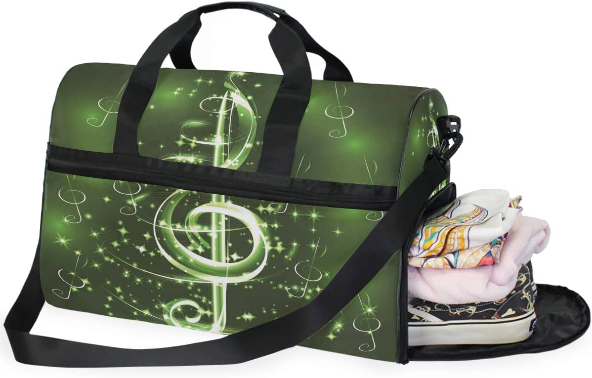 AHOMY Music Musical Note Sports Gym Bag with Shoes Compartment Travel Duffel Bag
