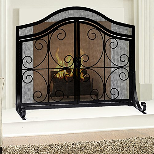 Fireplace Screen With Doors Flat Guard Fire Screens Outdoor Large