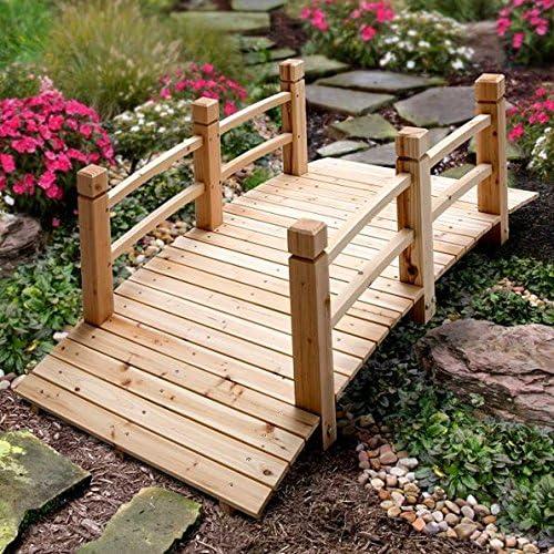 5 pies madera de pino acabado natural jardín puente con indicador del nivel al aire libre césped jardín decoración: Amazon.es: Jardín