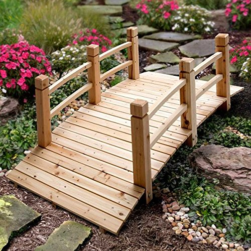 5 Foot Natural Finish Fir Wood Garden Bridge With Railings Outdoor Lawn Garden Landscaping Decoration