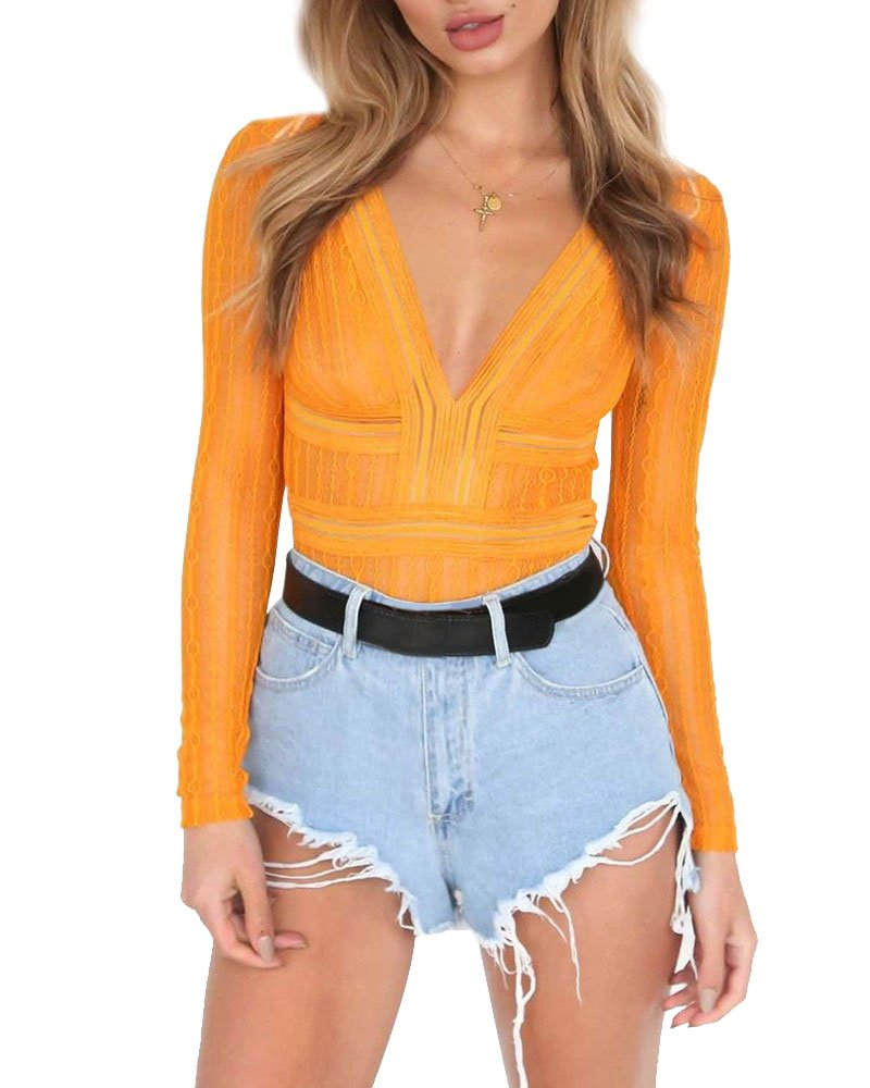 Womens Sexy V Neck Hollow Out Lace Backless Bodysuit Overall (X-Large, Yellow)