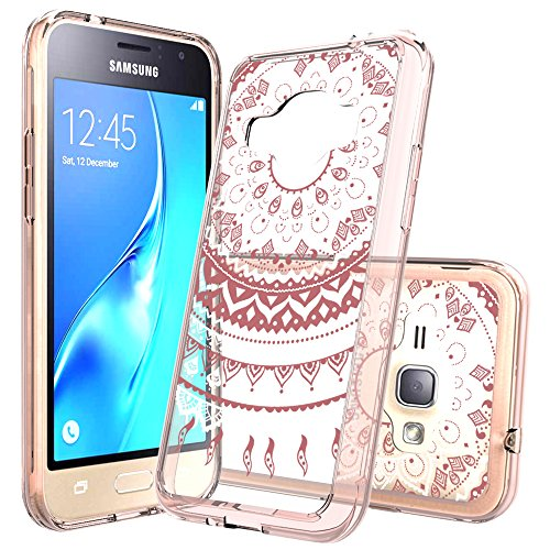 AnoKe Galaxy J1 2016/Luna/Amp 2/Express 3 Clear Case with HD Screen Protector, [Scratch Resistant] Catcher Mandala Flower Cute Grils Ultra Slim Acrylic TPU Hybrid For J1 J120M TM CH Rose (Cellular Amp)