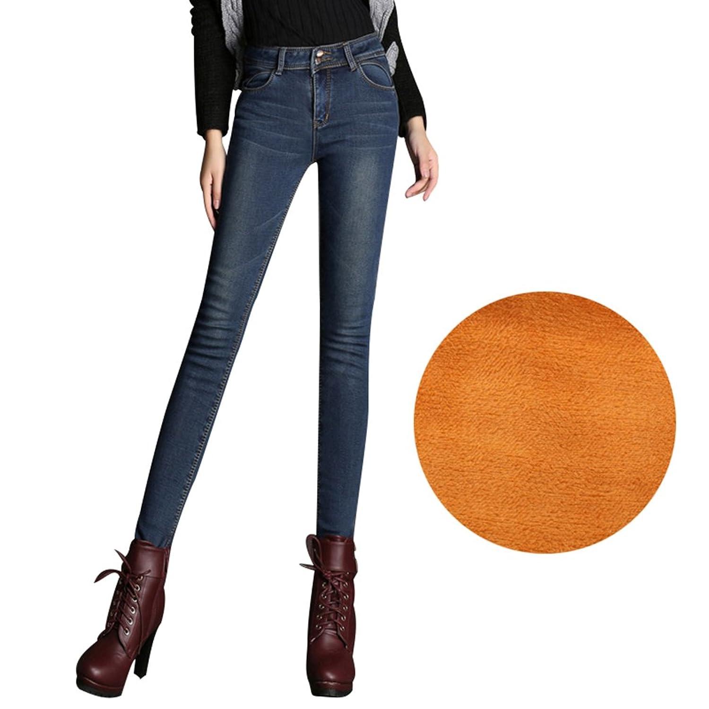 Jeans Slim Mujer Cálido Denim Jitong Vaqueros Skinny Forrados Fit 8knXNP0wO