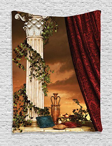 Ambesonne Gothic Tapestry, Greek Style Scene Climber Pillow Fruits Vine and Red Curtain Ancient Figure Sunset, Wall Hanging for Bedroom Living Room Dorm, 60 W X 80 L inches, Multicolor -