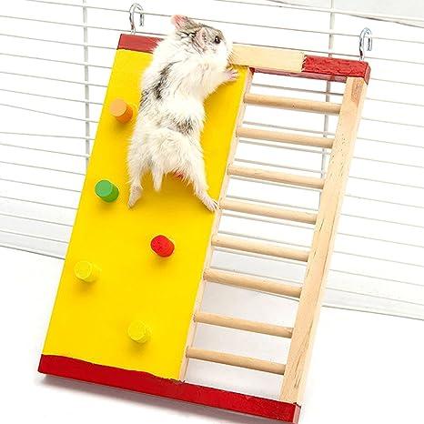 JUNGEN Hámster de Juguete de Madera Pequeños Animales Actividad Escalada de Juguetes para Actividad Gimnasio de hámster