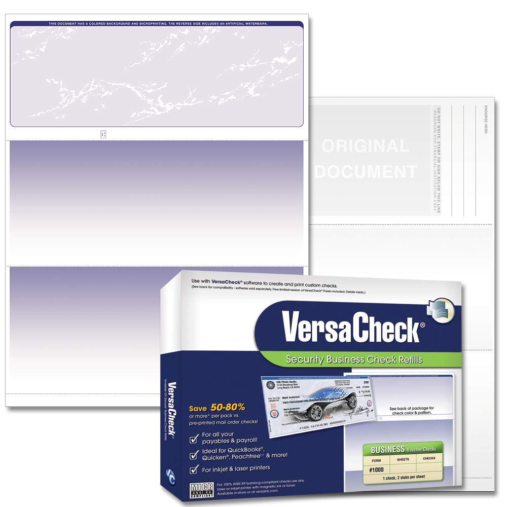 VersaCheck Security Business Check Refills: Form #1000 Business Voucher - Blue - Prestige - 500 Sheets by VersaCheck