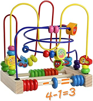 Montessori Toy Bead Maze Roller Coaster Legno Abacus Gioco Educativo Precoce