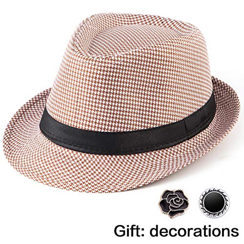- LADYBRO Summer Hat Mens Fedora Hats - Brown White Hat Houndstooth Black Band Fedora Hat