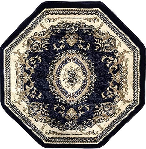 Deir Debwan Traditional Octagon Floral Aubusson Persian 330,000 Point Area Rug Dark Blue Design #602 (4 Feet X 4 Feet) (Aubusson Rug Floral)
